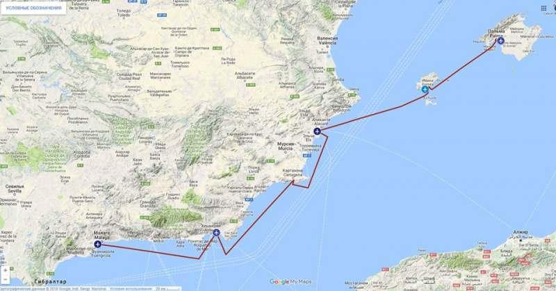 Морское путешествие вдоль побережья Испании.